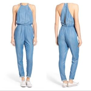 RVCA Be About It Blue Chambray Jumpsuit